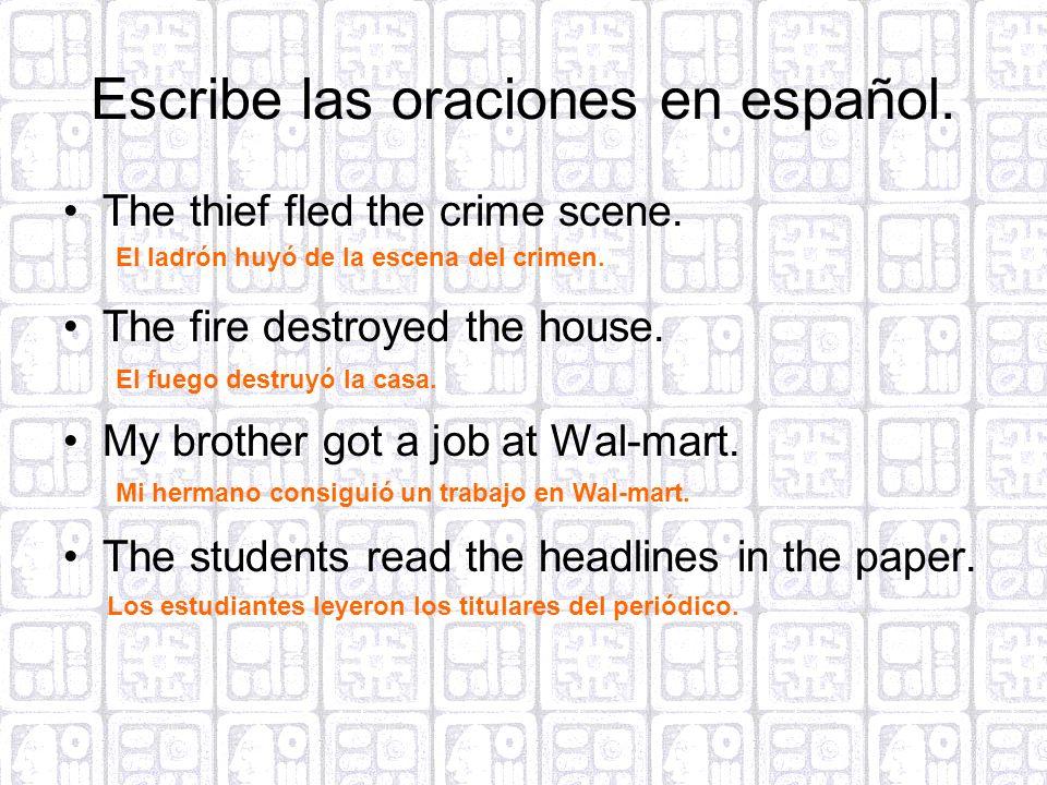 Escribe las oraciones en español.