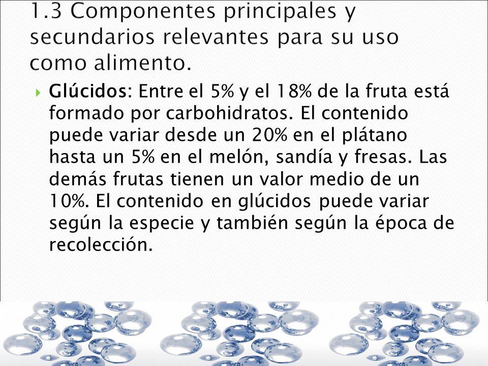 Glúcidos: Entre el 5% y el 18% de la fruta está formado por carbohidratos.