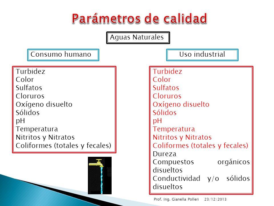Parámetros de calidad Aguas Naturales Consumo humano Uso industrial
