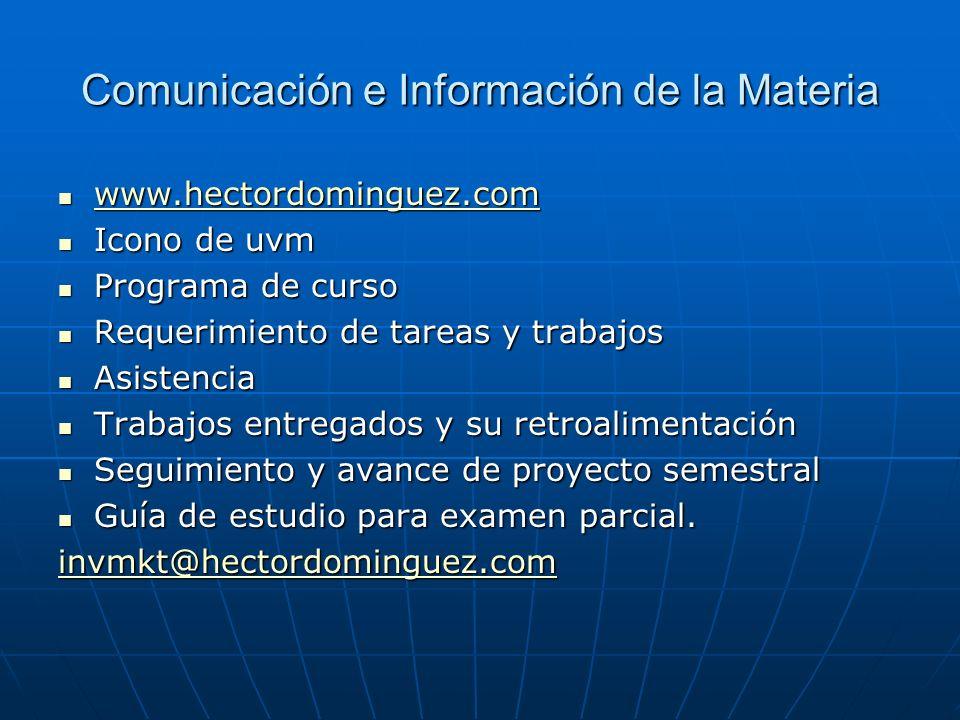 Comunicación e Información de la Materia