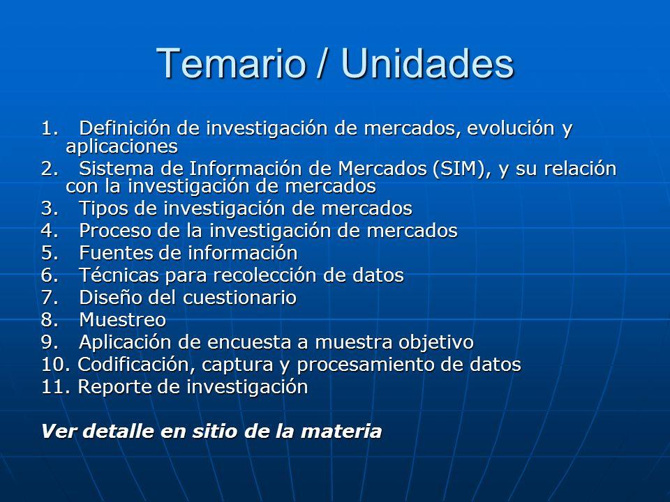 Temario / Unidades 1. Definición de investigación de mercados, evolución y aplicaciones.