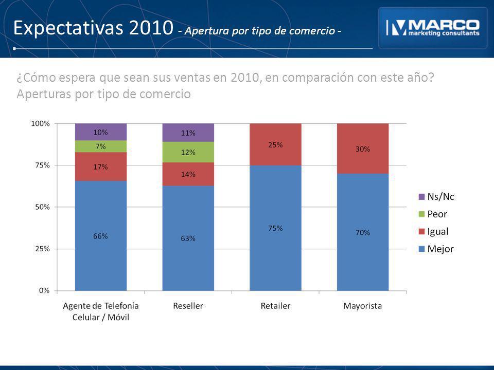 Expectativas 2010 - Apertura por tipo de comercio -