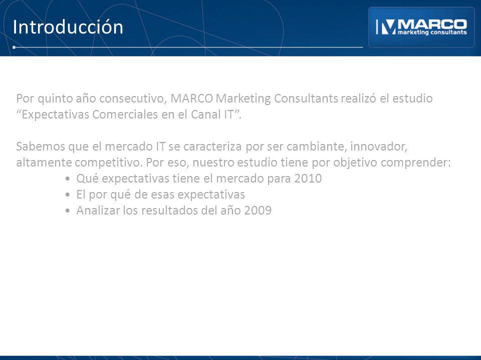 Introducción Por quinto año consecutivo, MARCO Marketing Consultants realizó el estudio Expectativas Comerciales en el Canal IT .