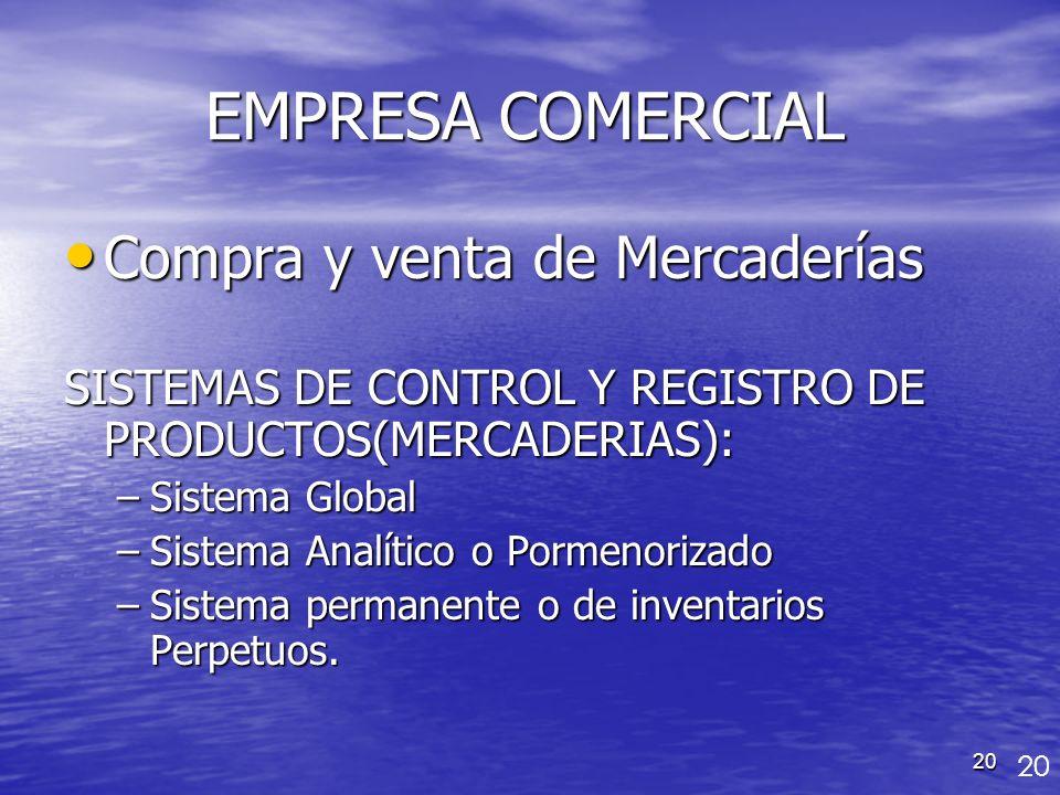 EMPRESA COMERCIAL Compra y venta de Mercaderías