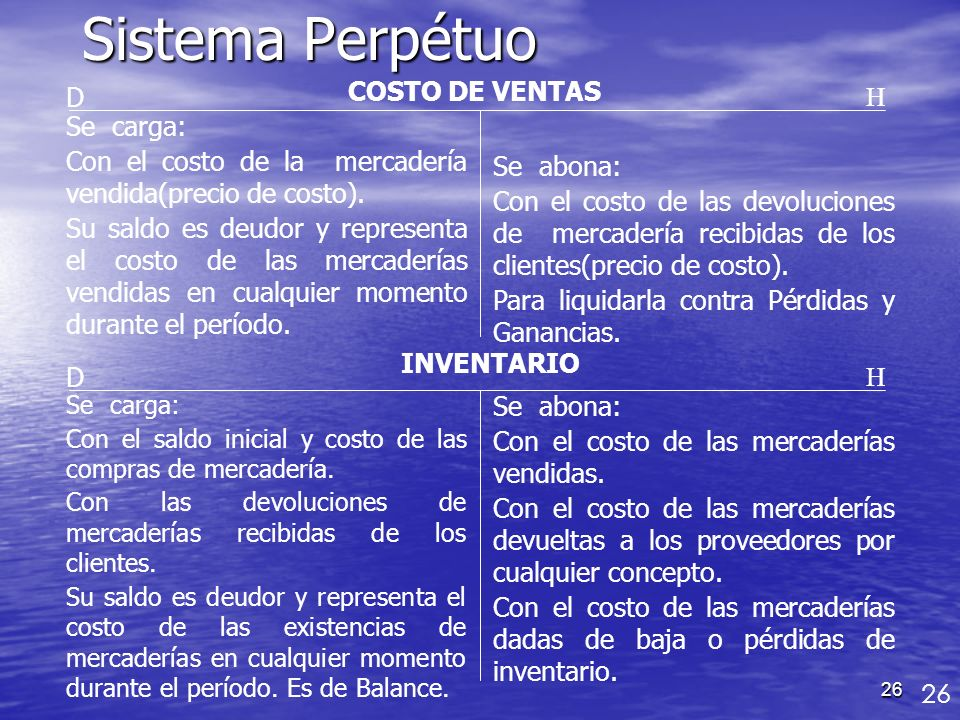Sistema Perpétuo D COSTO DE VENTAS H Se carga: