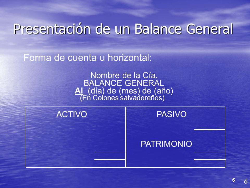 Presentación de un Balance General