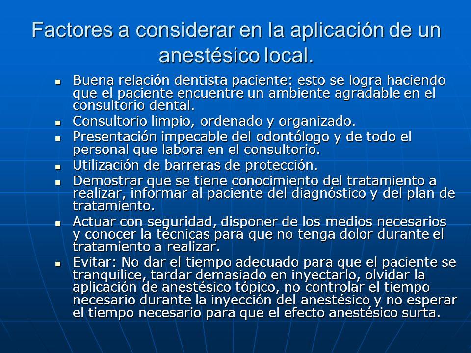 Factores a considerar en la aplicación de un anestésico local.
