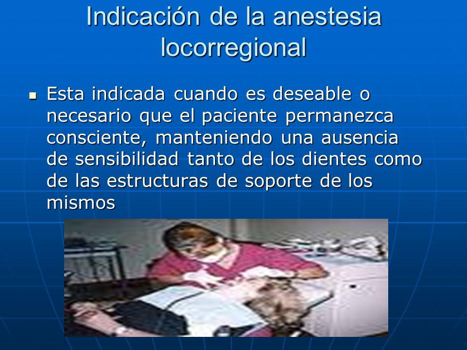 Indicación de la anestesia locorregional