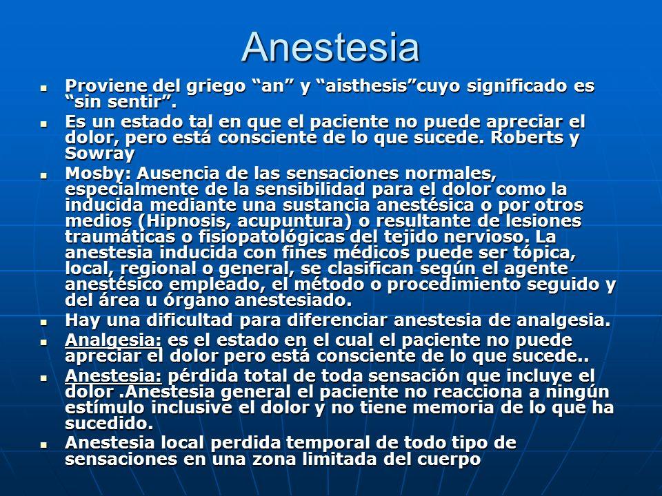 Anestesia Proviene del griego an y aisthesis cuyo significado es sin sentir .