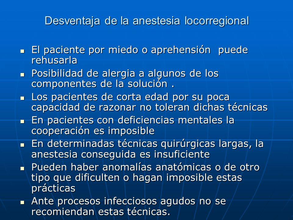 Desventaja de la anestesia locorregional