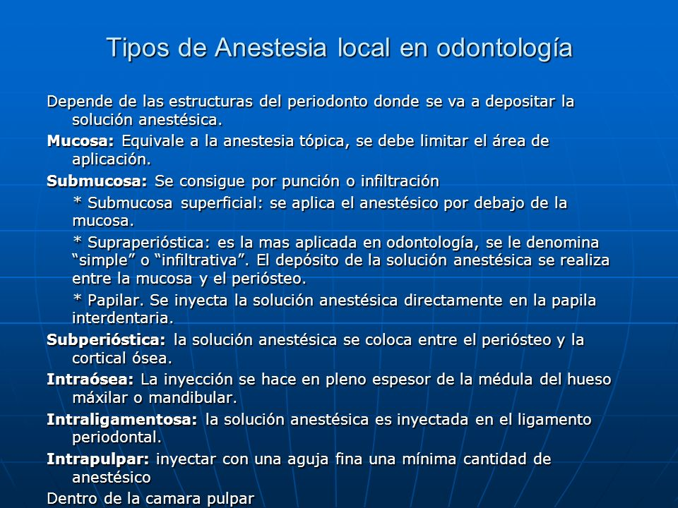 Tipos de Anestesia local en odontología