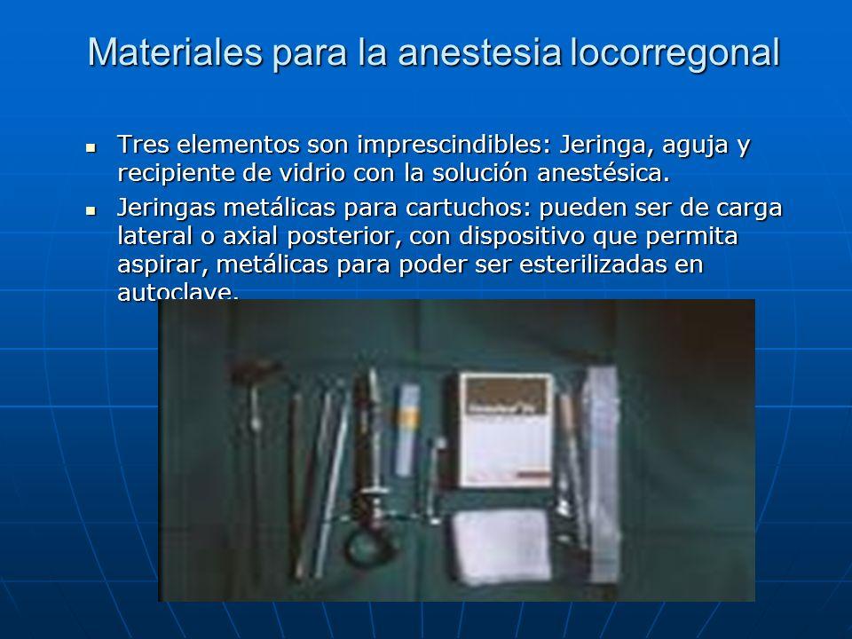 Materiales para la anestesia locorregonal