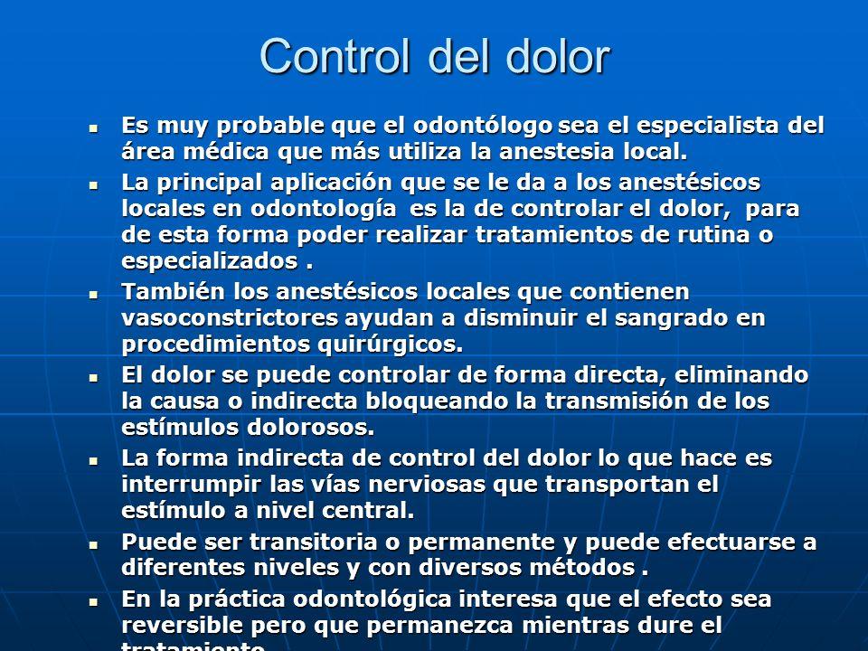 Control del dolor Es muy probable que el odontólogo sea el especialista del área médica que más utiliza la anestesia local.