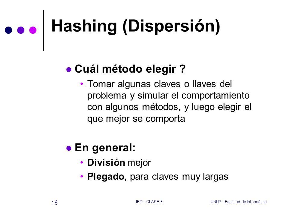 Hashing (Dispersión) Cuál método elegir En general: