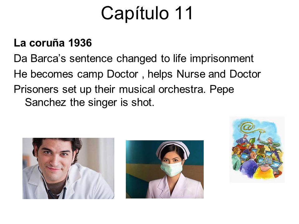 Capítulo 11 La coruña 1936. Da Barca's sentence changed to life imprisonment. He becomes camp Doctor , helps Nurse and Doctor.