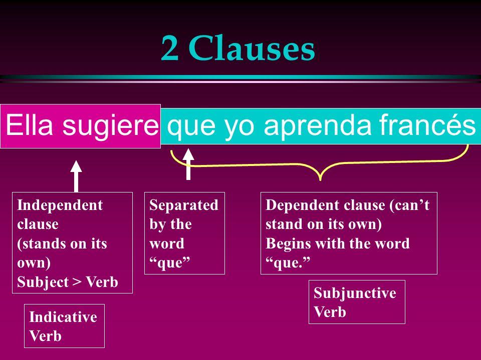 2 Clauses Ella sugiere que yo aprenda francés