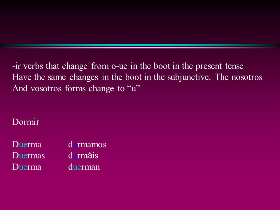 -ir verbs that change from o-ue in the boot in the present tense