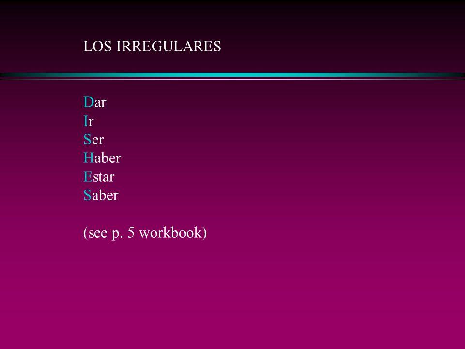 LOS IRREGULARES Dar Ir Ser Haber Estar Saber (see p. 5 workbook)