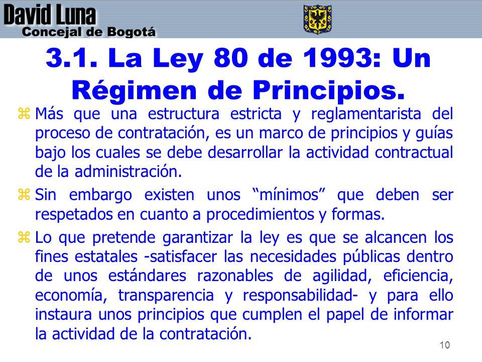 3.1. La Ley 80 de 1993: Un Régimen de Principios.
