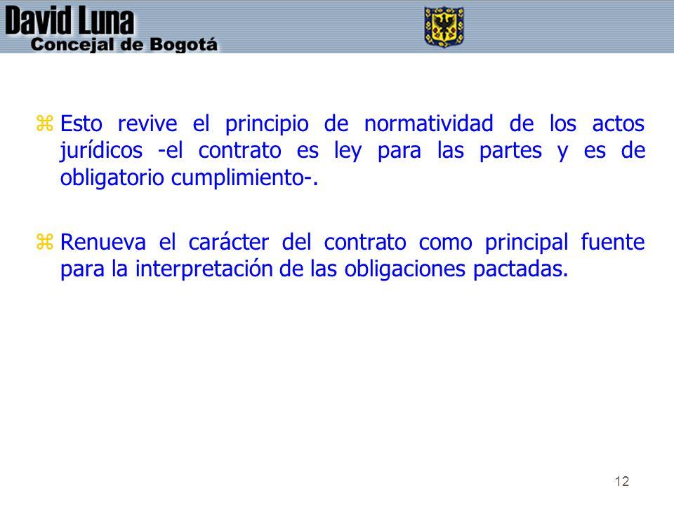 Esto revive el principio de normatividad de los actos jurídicos -el contrato es ley para las partes y es de obligatorio cumplimiento-.