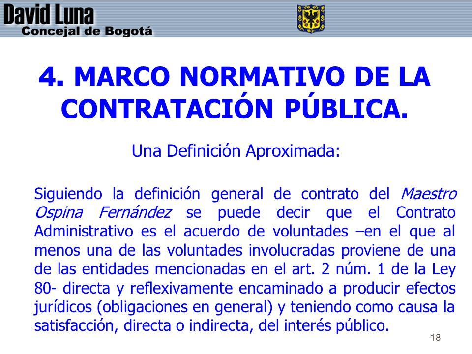 4. MARCO NORMATIVO DE LA CONTRATACIÓN PÚBLICA.
