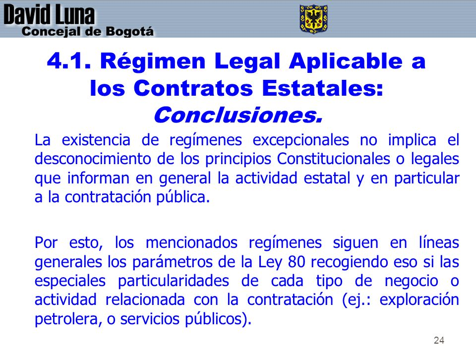 4.1. Régimen Legal Aplicable a los Contratos Estatales: Conclusiones.