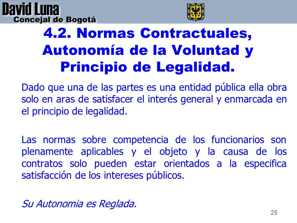 4.2. Normas Contractuales, Autonomía de la Voluntad y Principio de Legalidad.