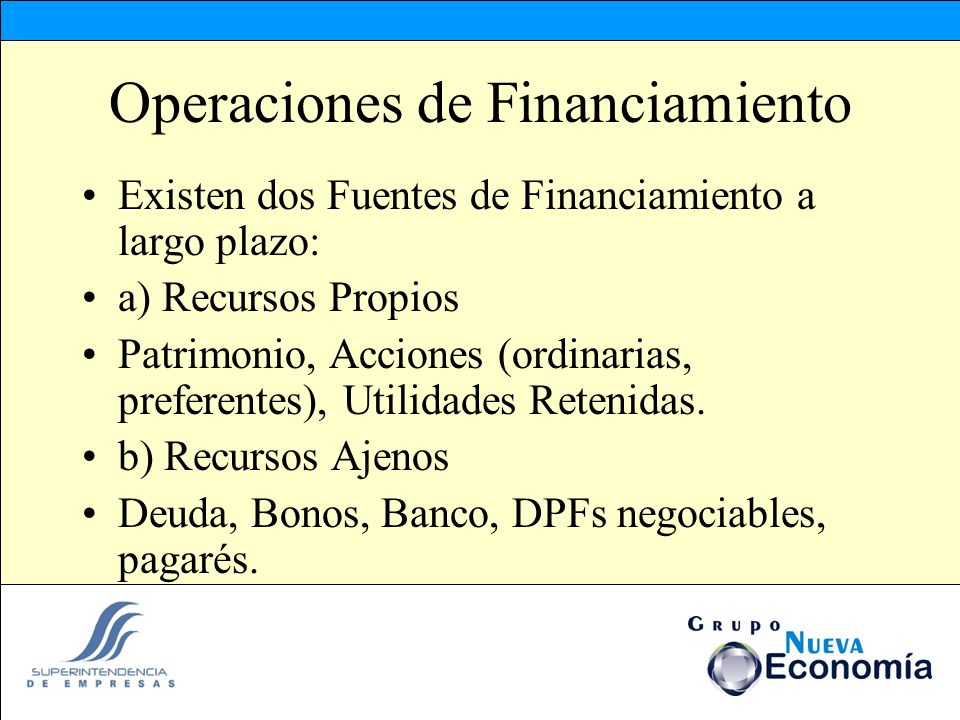 Operaciones de Financiamiento