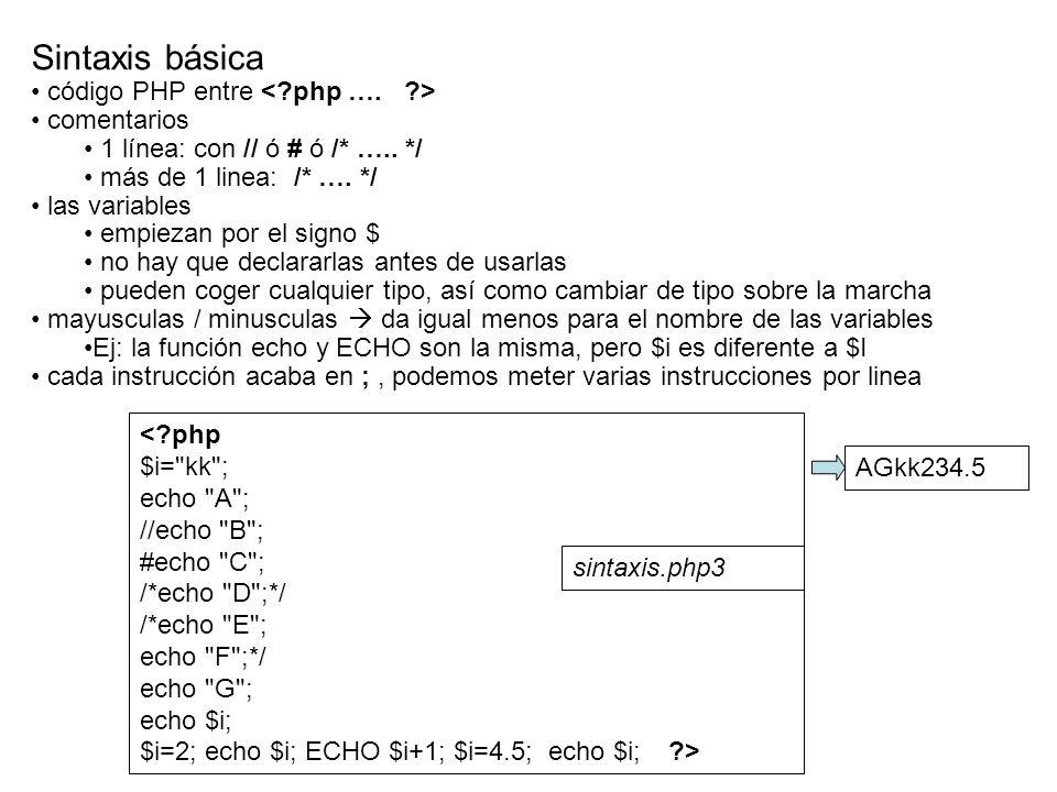 Sintaxis básica código PHP entre < php …. > comentarios