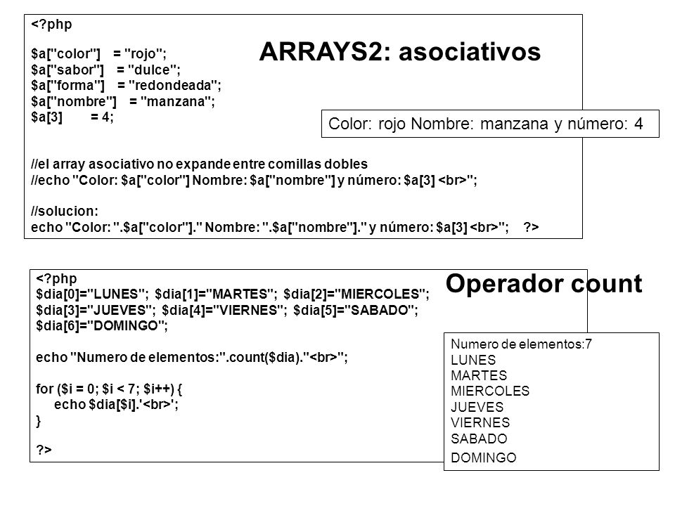 ARRAYS2: asociativos Operador count