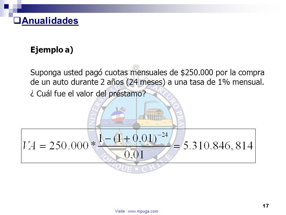 Anualidades Ejemplo a)