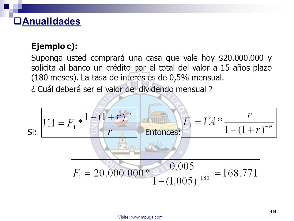 Anualidades Ejemplo c):