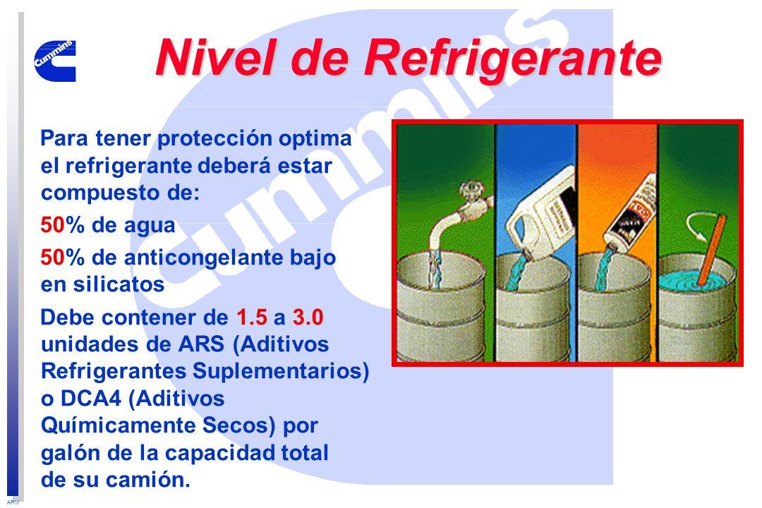 Nivel de Refrigerante Para tener protección optima el refrigerante deberá estar compuesto de: