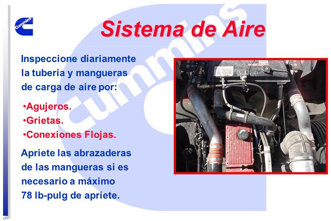Sistema de Aire Inspeccione diariamente la tubería y mangueras de carga de aire por: