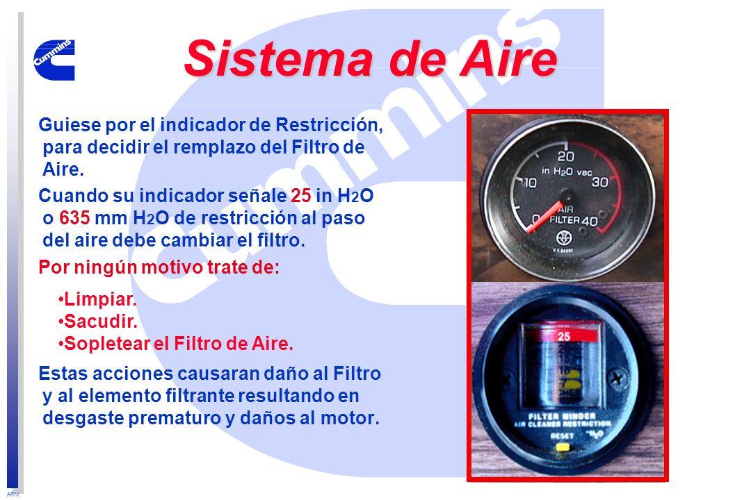 Sistema de Aire Guiese por el indicador de Restricción, para decidir el remplazo del Filtro de Aire.
