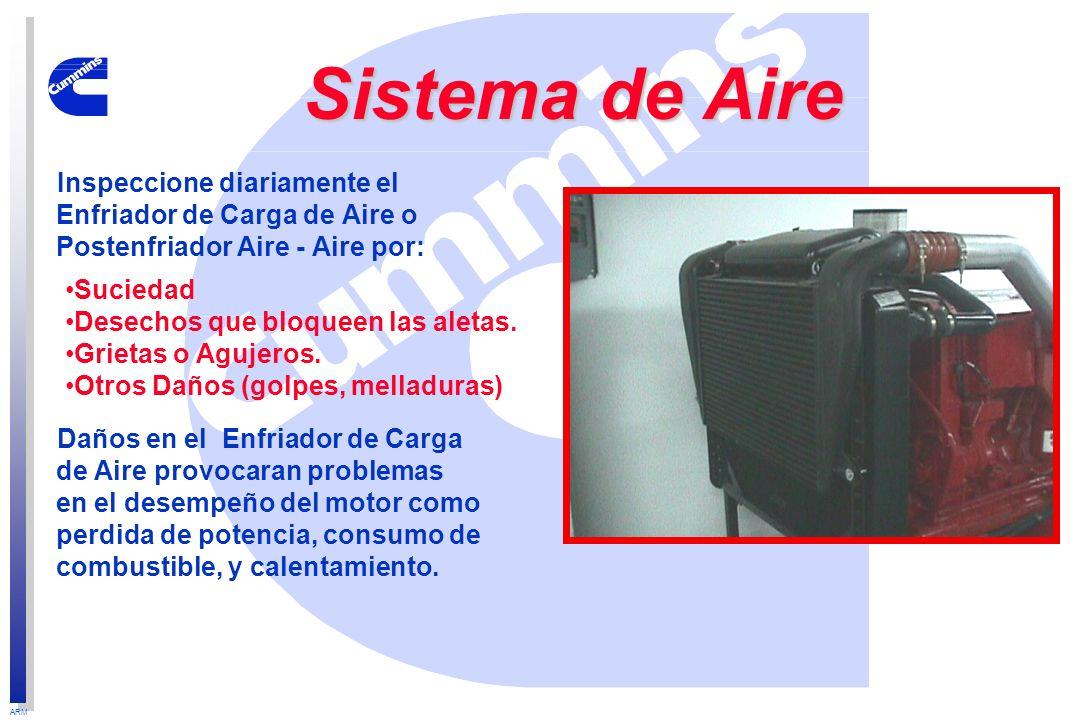 Sistema de AireInspeccione diariamente el Enfriador de Carga de Aire o Postenfriador Aire - Aire por: