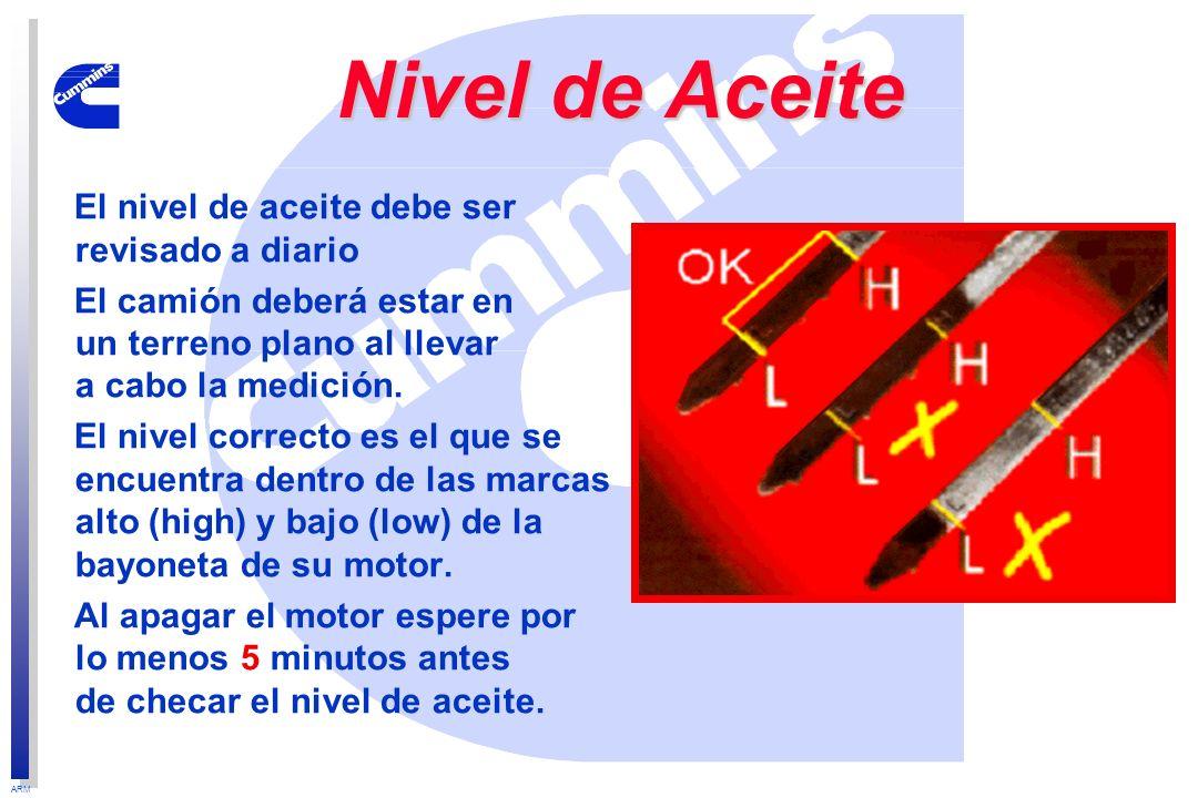 Nivel de Aceite El nivel de aceite debe ser revisado a diario
