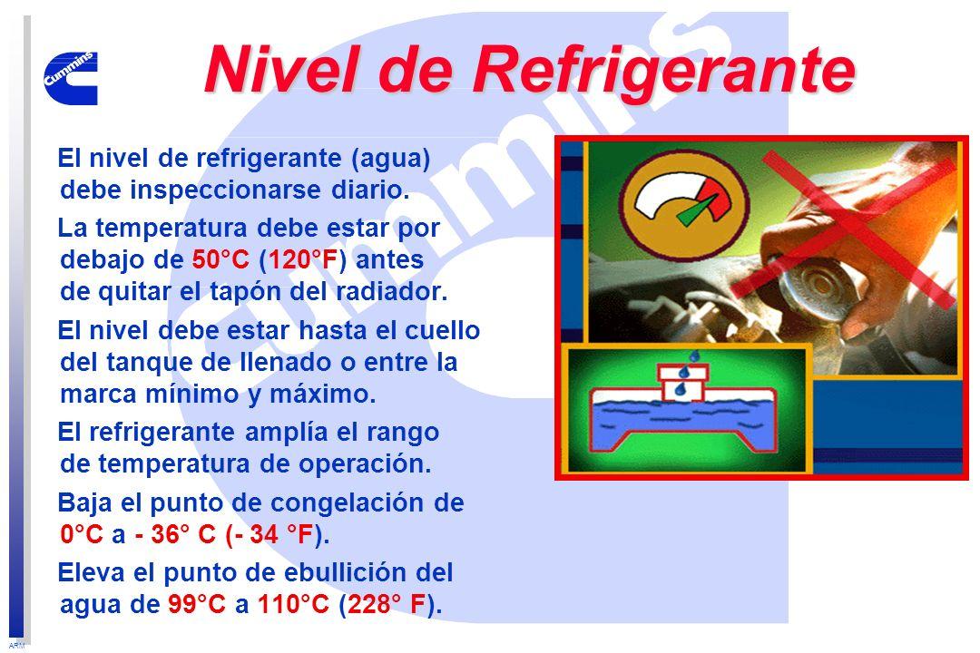Nivel de RefrigeranteEl nivel de refrigerante (agua) debe inspeccionarse diario.