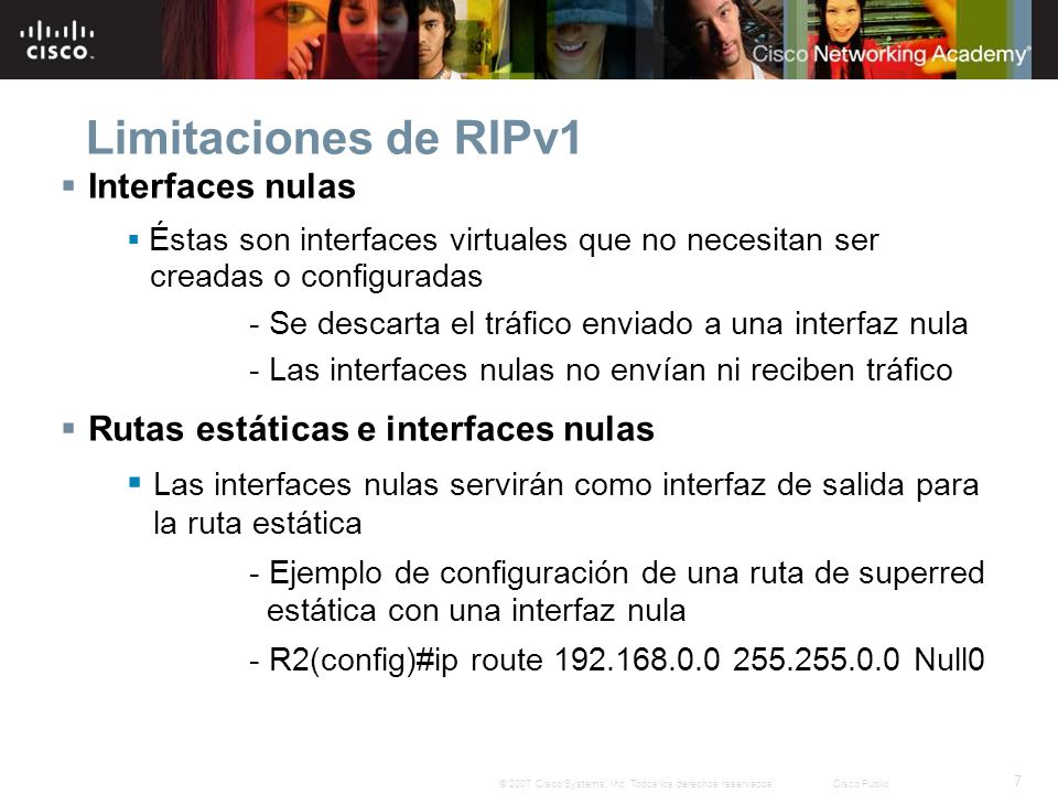 Limitaciones de RIPv1 Interfaces nulas