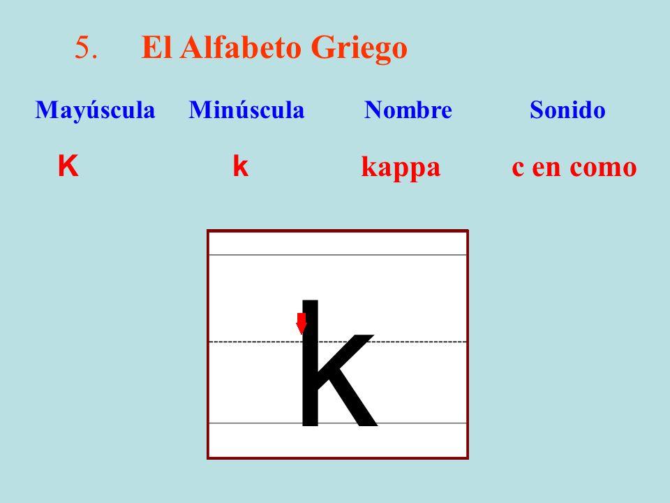 k 5. El Alfabeto Griego K k kappa c en como