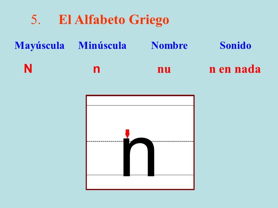 n 5. El Alfabeto Griego N n nu n en nada