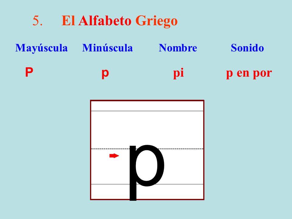p 5. El Alfabeto Griego P p pi p en por