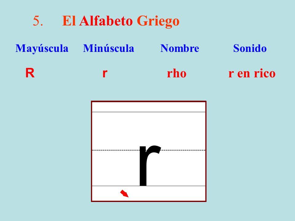 r 5. El Alfabeto Griego R r rho r en rico