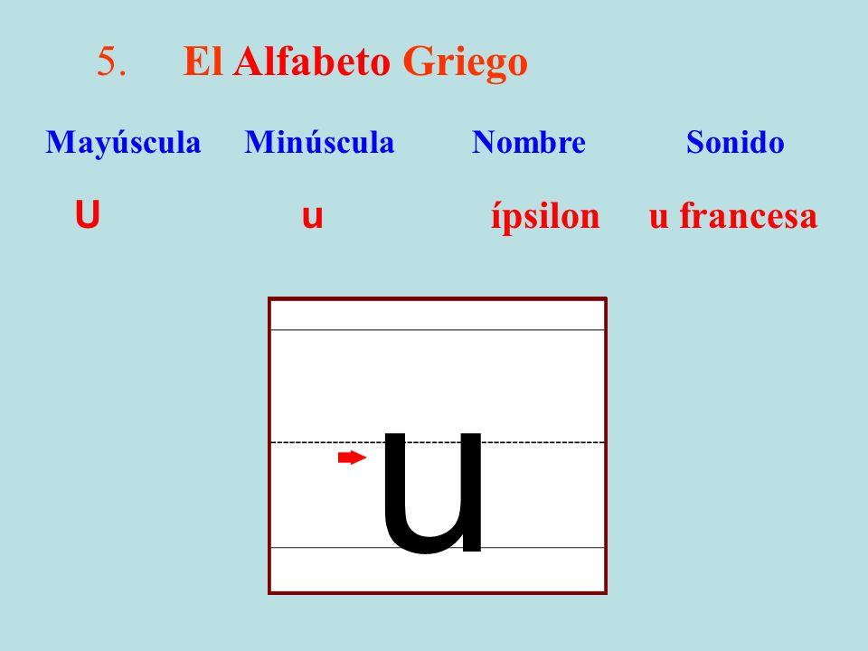 u 5. El Alfabeto Griego U u ípsilon u francesa