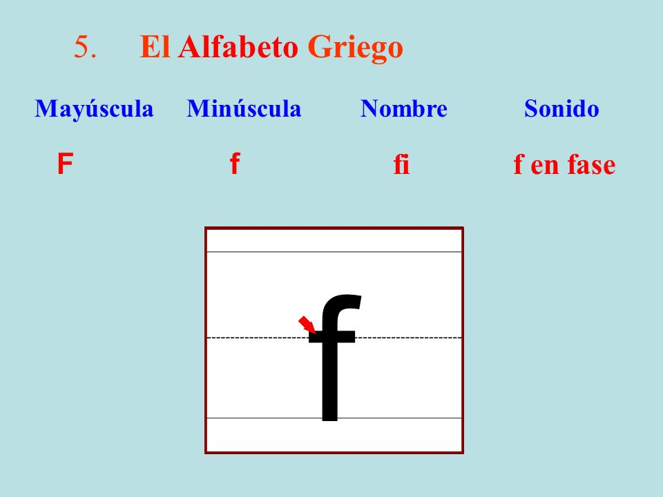 f 5. El Alfabeto Griego F f fi f en fase