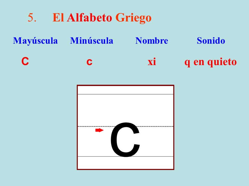 c 5. El Alfabeto Griego C c xi q en quieto
