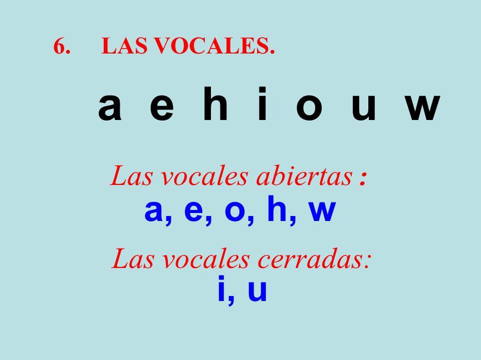 a e h i o u w a, e, o, h, w i, u Las vocales abiertas: