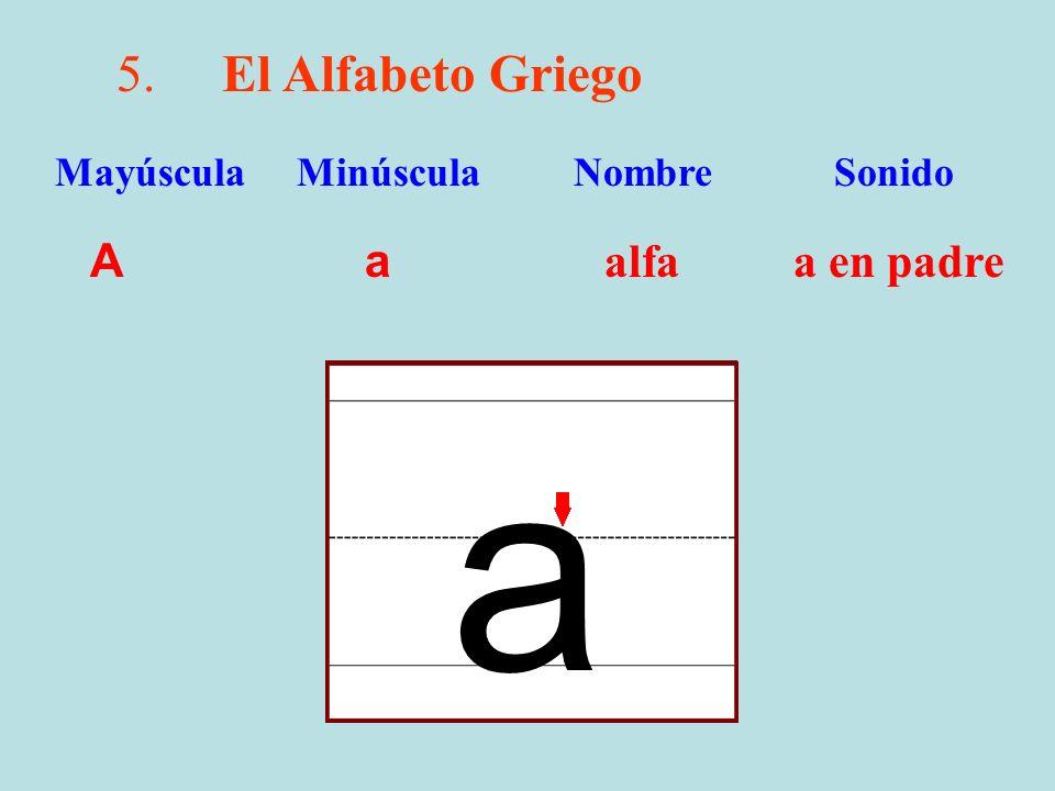 a 5. El Alfabeto Griego A a alfa a en padre