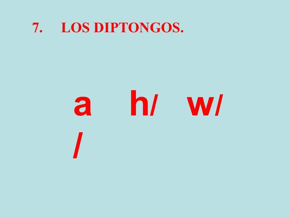 7. LOS DIPTONGOS. a/ h/ w/