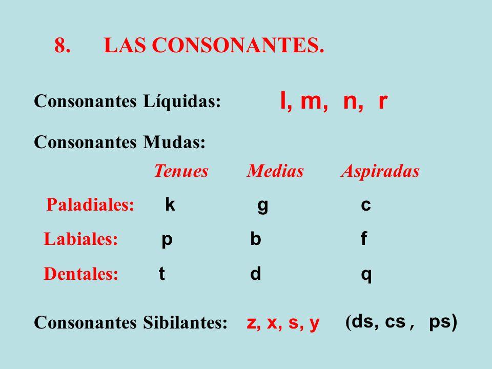 l, m, n, r 8. LAS CONSONANTES. Consonantes Líquidas: